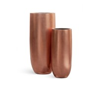 Кашпо TREEZ Effectory - серия Metall высокий округлый конус - Розовая медь 72 см