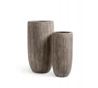 Кашпо TREEZ Effectory - серия Wood высокий округлый конус - беленый дуб 65 см