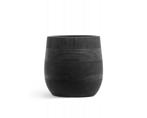 купить Кашпо TREEZ ERGO-серия Graphics-округлая чаша-Черный графит 31 см в мегамаркете Формула Дачи
