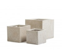 Кашпо TREEZ ERGO - серия Cork куб - белый песок 24 см