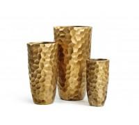 Кашпо TREEZ ERGO - серия Comb высокий закругленный конус - застаренное золото 61 см