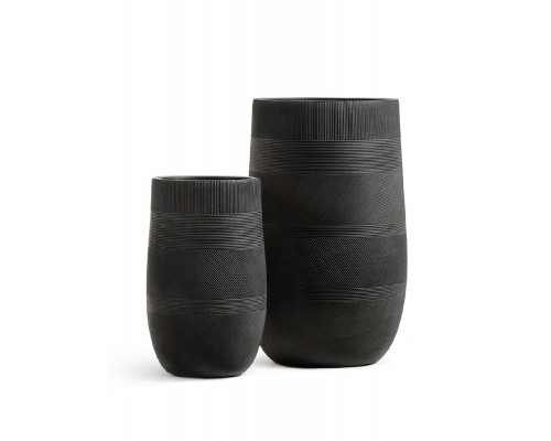 купить Кашпо TREEZ ERGO-серия Graphics-высокая округлая чаша-Черный графит 75 см в интернет магазине Formula-Dachi.ru