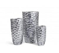 Кашпо TREEZ ERGO - серия Comb высокий закругленный конус - застаренное серебро 61 см