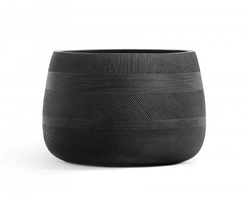 купить Кашпо TREEZ ERGO-серия Graphics-низкая чаша-Черный графит 29 см в гипермаркете Формула Дачи