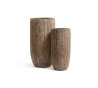 Кашпо TREEZ Effectory - серия Wood высокий округлый конус - светлый дуб 65 см