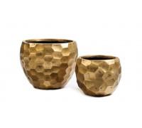 Кашпо TREEZ ERGO - серия Comb полусфера - застаренное золото 31 см