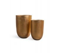 Кашпо TREEZ Effectory - серия Metall высокий конус-чаша - Сусальное золото 55 см