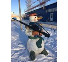 Декоративная фигура Снеговик с пулеметом 60х130см